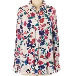 Collared Floral sheer 3/4 sleeve Casual work long